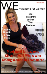 international business coach April Iannazzone sitting in chair with black dress on magazine cover